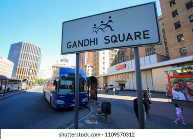 Johannesburg, South Africa - May 2018 : Sign on Gandhi Square