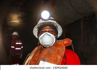 Johannesburg, South Africa - May 23 2011: Underground Platinum Palladium Mining and Equipment