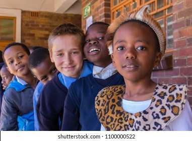 Johannesburg, South Africa - May 25, 2018: unidentified primary school children, some in traditional dress, celebrate Africa Day image in landscape format