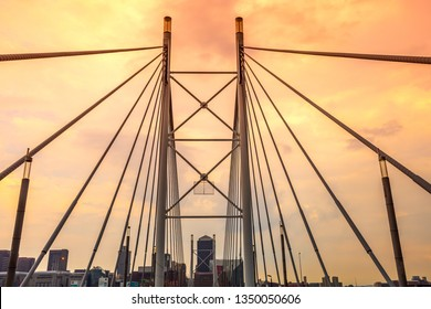 Johannesburg, South Africa - May 25, 2019: Nelson Mandela Bridge at sunset, Johannesburg