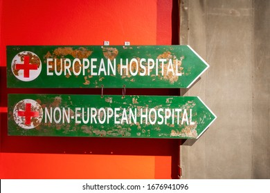 Johannesburg, South Africa - May 25, 2019: Two signs indicating European Hospital and Non-European Hospital from Apartheid time in South Africa