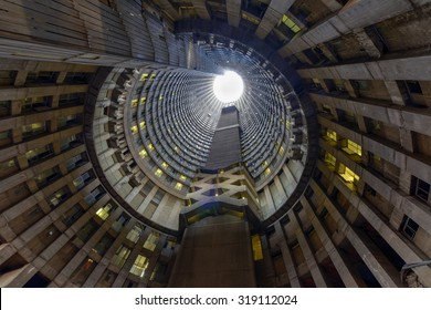 Johannesburg, South Africa - May 25, 2015: Ponte City Building at sunset. Ponte City is a famous skyscraper in the Hillbrow neighbourhood of Johannesburg.