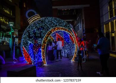 Johannesburg , South Africa - Nov 18 2018:Christmas lighting and decoration in Melrose arch Johannesburg