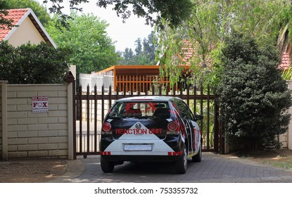 Johannesburg, South Africa - November 12, 2017: Private security companies patrol and guard residential neighborhoods in the city in an attempt to counter the high crime experienced in the country