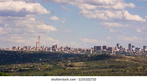 Johannesburg, South Africa - November 13, 2016: View of Johannesburg city skyline from Northcliff
