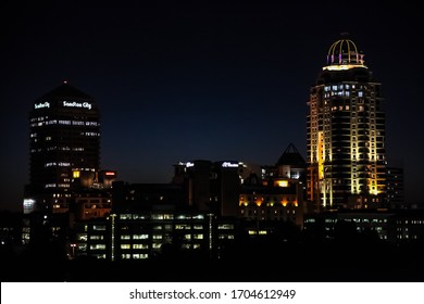Johannesburg, South Africa - November 2, 2011: Silhouette Skyline looking over Sandton City and surrounding business district at Night
