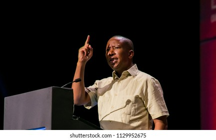 Johannesburg, South Africa, November 23,  2017, Julius Malema leader of the EFF Economic Freedom Fighters a Socialist Political Party in South Africa speaking at The Gathering