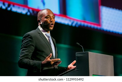 Johannesburg, South Africa, November 23,  2017, Mmusi Maimane the leader of the DA Democratic Alliance Political Party in South Africa speaking at The Gathering