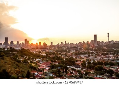 Johannesburg, South Africa - October 16 2012: View of Johannesburg City at Sunset from a nearby hill
