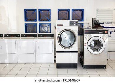 Johannesburg, South Africa - October 2, 2012: Inside Interior of washing machines in self service laundromat