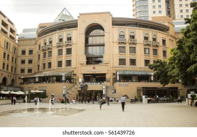 Johannesburg, South Africa -  October 31, 2016: The Nelson Mandela Square, Sandton, Johannesburg. The public place. Shopping area.