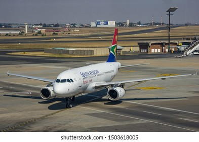 JOHANNESBURG, SOUTH AFRICA - October 8 2018: A South African Airways jumbo jet taxiing and waiting to take off from the O.R. Tambo International Airport, Johannesburg . Editorial Use Only.