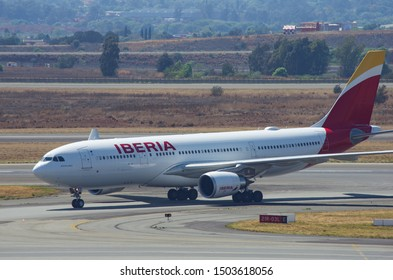 JOHANNESBURG, SOUTH AFRICA - October 8 2018: An Iberia Airlines jumbo jet taxiing and waiting to take off from the O.R. Tambo International Airport, Johannesburg . Editorial Use Only.