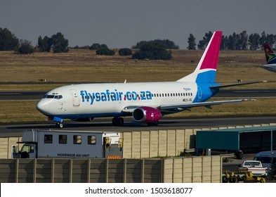 JOHANNESBURG, SOUTH AFRICA - October 8 2018: A Safair Airline jumbo jet taxiing and waiting to take off from the O.R. Tambo International Airport, Johannesburg . Editorial Use Only.