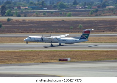 JOHANNESBURG, SOUTH AFRICA - October 8 2018: A South African Express bombardier flight taking off from the O.R. Tambo International Airport, Johannesburg . Editorial Use Only.