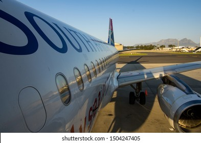JOHANNESBURG, SOUTH AFRICA - October 8 2018: Close-up of a South African Airways jumbo jet at the O.R. Tambo International Airport, Johannesburg . Editorial Use Only.