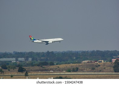 JOHANNESBURG, SOUTH AFRICA - October 8 2018: A South African Airways jumbo takes off on the sky from the O.R. Tambo International Airport, Johannesburg . Editorial Use Only.