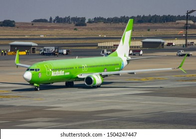 JOHANNESBURG, SOUTH AFRICA - October 8 2018: A Kulula Airlines jumbo jet taxiing and waiting to take off from the O.R. Tambo International Airport, Johannesburg . Editorial Use Only.