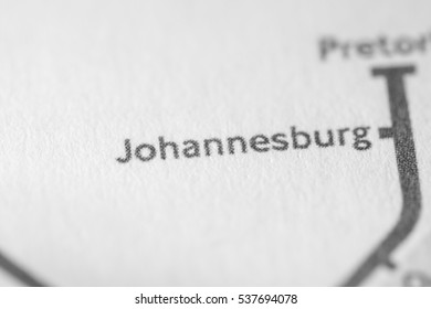Johannesburg, South Africa on a geographical map.