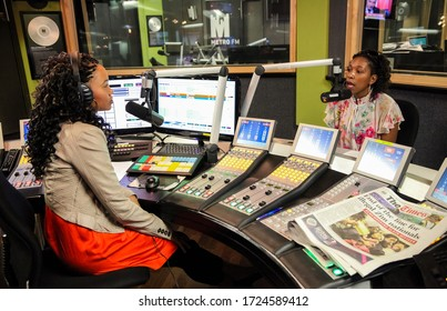 Johannesburg, South Africa - September 03, 2010: African Female Guests being interviewed on live talk radio show