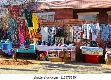 Johannesburg, South Africa, September 11, 2011, African Curios on sale Outside Nelson Mandela's house in Vilakazi Street Soweto