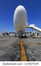 Johannesburg, South Africa - September 11th 2016: Boeing 747-400 Jumbo Jet Freighter being repaired before flight