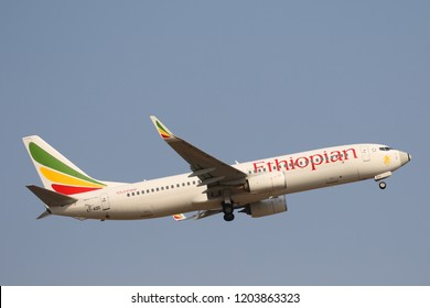 JOHANNESBURG, SOUTH AFRICA - SEPTEMBER 27, 2018: Ethiopian Airlines Boeing 737 takes off from O. R. Tambo International Airport in Johannesburg, South Africa
