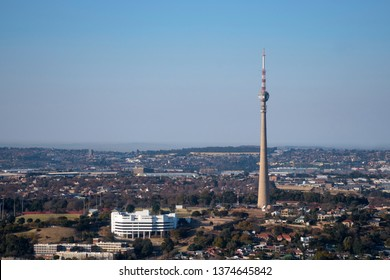 JOHANNESBURG, SOUTH AFRICA-JULY 21 2018: Aerial view of the Brixton Tower for television transmission