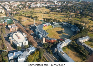 JOHANNESBURG, SOUTH AFRICA-JULY 21 2018: Aerial view of the Wanderers cricket stadium in Illovo