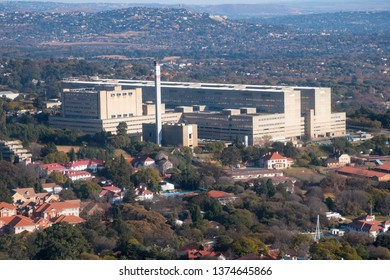 JOHANNESBURG, SOUTH AFRICA-JULY 21 2018: Aerial view of the Charlotte Maxeke academic hospital in Parktown