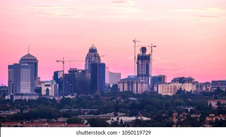 Johannesburg,South Africa, March 15,2018: Tall buildings of central business district in evening light.