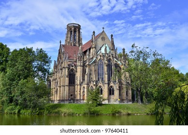 """The """"Johannis"""" church at pond """"Feuersee"""" of Stuttgart, Germany"""