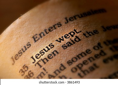"John 11:35, ""Jesus wept."""