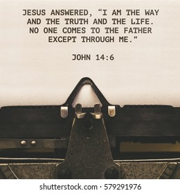 John 14:6 Bible quote on paper in vintage type writer machine from 1920s closeup with paper
