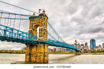 John A. Roebling Suspension Bridge between Cincinnati, Ohio and Covington, Kentucky spanning the Ohio River. United States