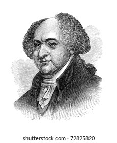 John Adams, the 2nd President of the United States. Vintage engraving from Harper's Monthly Magazine July 1876. The image is currently in public domain by the virtue of age.