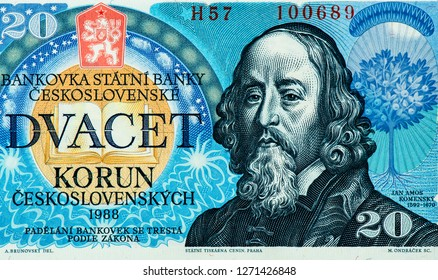 John Amos Comenius (1592-1670) on 20 Korun 1988 Banknote from Czechoslovakia. 20 Czechoslovakia Korun bank note. Korun is the national currency of Czechoslovakia Close Up UNC Uncirculated - Collection