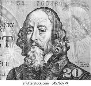 John Amos Comenius (1592-1670) on 20 Korun 1988 Banknote from Czechoslovakia.