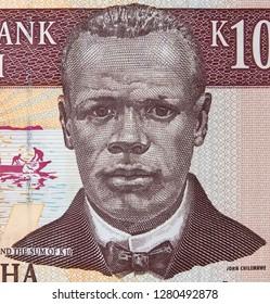 John Chilembwe portrait on Malawi 10 kwacha banknote close up macro. Hero of Malawian independence.