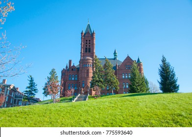 John Crouse memorial College in Syracuse University, Syracuse, New York State, USA. This Romanesque building, built in 1889, was the first college of Fine Arts in the United States.