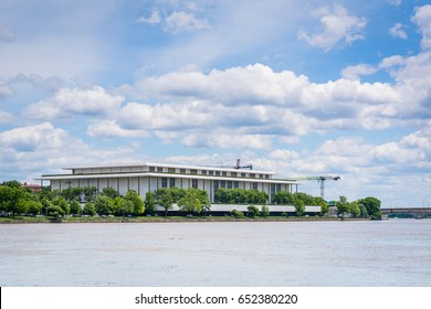 The John F. Kennedy Center for the Performing Arts and Potomac River in Washington, DC.