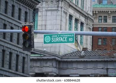 John Fitzgerald Surface Road in Boston - BOSTON / MASSACHUSETTS - APRIL 3, 2017