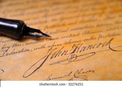 John Hancocks famous signature on the Declaration of Independence
