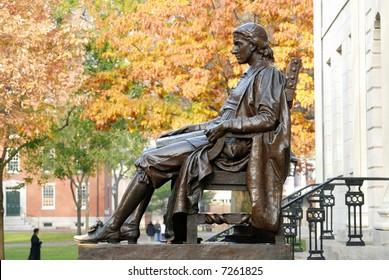 John Harvard statue. Harvard University