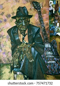 """JOHN LEE HOOKER, famous musicians, celebrities of jazz,oil painting, artist Roman Nogin, series """"Sounds of Jazz."""" looking for partnerships with artdillers - contact facebook"""