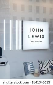 John Lewis sign and branding in Cheltenham, UK. March 2019