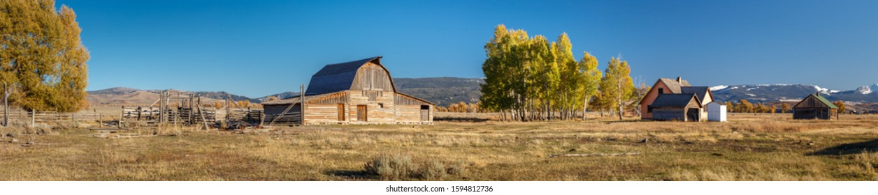 John Moulton Barn within Mormon Row Historic District in Grand Teton National Park, Wyoming - The most photographed barn in America