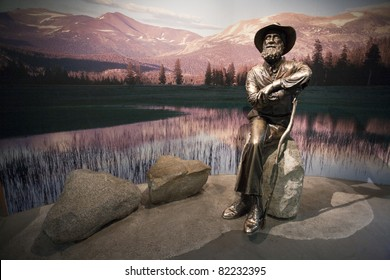 John Muir Memorial, Yosemite Visitor Center, in Yosemite National Park, CA. July 23, 2011.