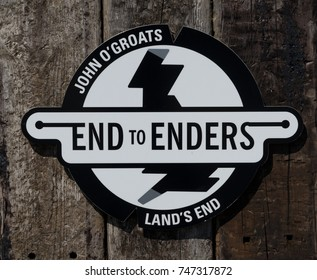 JOHN O'GROATS, SCOTLAND, UK - 07 AUGUST 2017:Land's End to John O'Groats sign