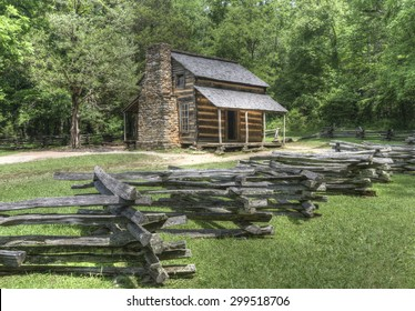 John Oliver Log Cabin located in Cades Cove Area of the  Great Smoky Mountains National Park, Tennessee.  Public Property no Property Release required.